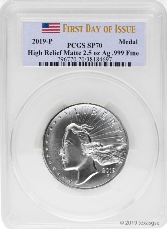 2019-P American Liberty High Relief Matte 2.5 oz Silver Medal PCGS SP70 FDI