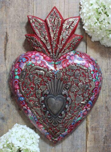 Huge Sacred Heart Hand Painted Flowers & Milagros Mexican Folk Art Michoacán
