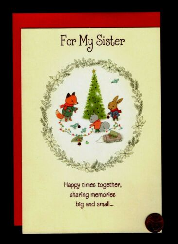 CHRISTMAS Fox Squirrel Rabbit - FOR SISTER LARGE - Greeting Card W/ TRACKING