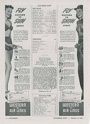 1946 Western Air Lines Ad Sun & Snow Spots Vintage Travel Flying Airlines