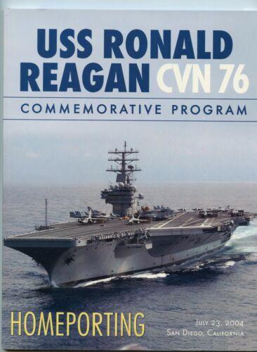 USS Ronald Reagan CVN 76 Commemorative Homeporting Navy Ceremony Program