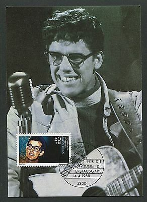 BRD MK 1988 MUSIK BUDDY HOLLY MUSIC MAXIMUMKARTE CARTE MAXIMUM CARD MC CM d7208