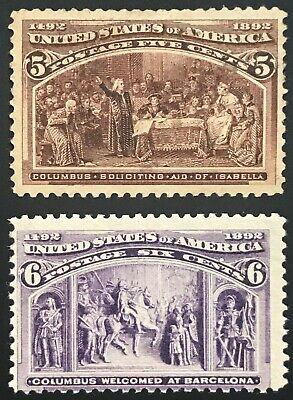 234/235 Columbians Mint, OG, PH/NH
