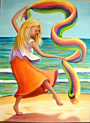 (Printable Wall Art Beach Dancer Orange Home Decor Instant Download Invitation)