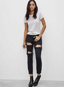 Aritzia-ONE-TEASPOON-Fox-Black-034-FREEBIRD-034-Distressed-Cropped-Jeans-Size-24