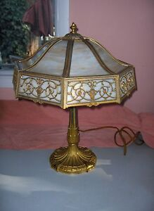 Antique-Miller-Table-Lamp-Art-Nouveau-3-Light-Caramel-Slag-Glass-Octagonal-1042