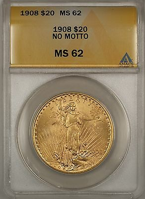 1908 NO MOTTO $20 ST. GAUDENS DOUBLE EAGLE GOLD COIN ANACS MS 62 BP
