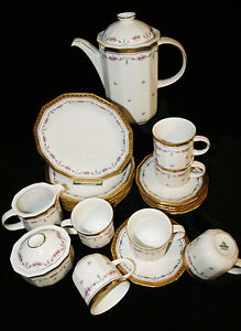 Tirschenreuth Porzellan Facette Goldrand Blumenranke 21 tlg Kaffeeservice Kaffee