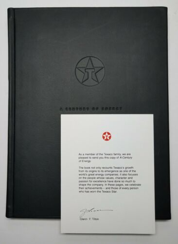 TEXACO A Century Of Energy ☆ 2001 Deluxe Leather Bound Edition With Poster