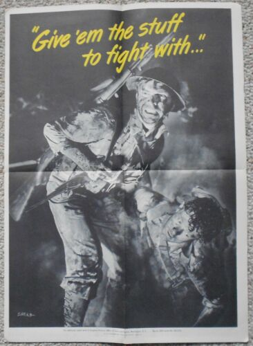 """1944 WW2 WWII Give Em the Stuff to Fight With 14"""" X 20"""" Original Poster"""