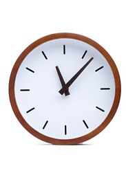 Driini Modern Wood Analog Wall Clock (12) - Battery Operated; Silent Sweep