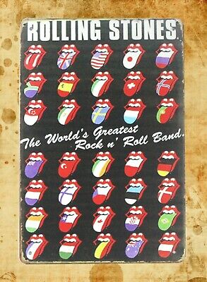 US Seller- Rolling Stones rock n roll band tin metal sign wall art wall decor (Rock N Roll Home Decor)