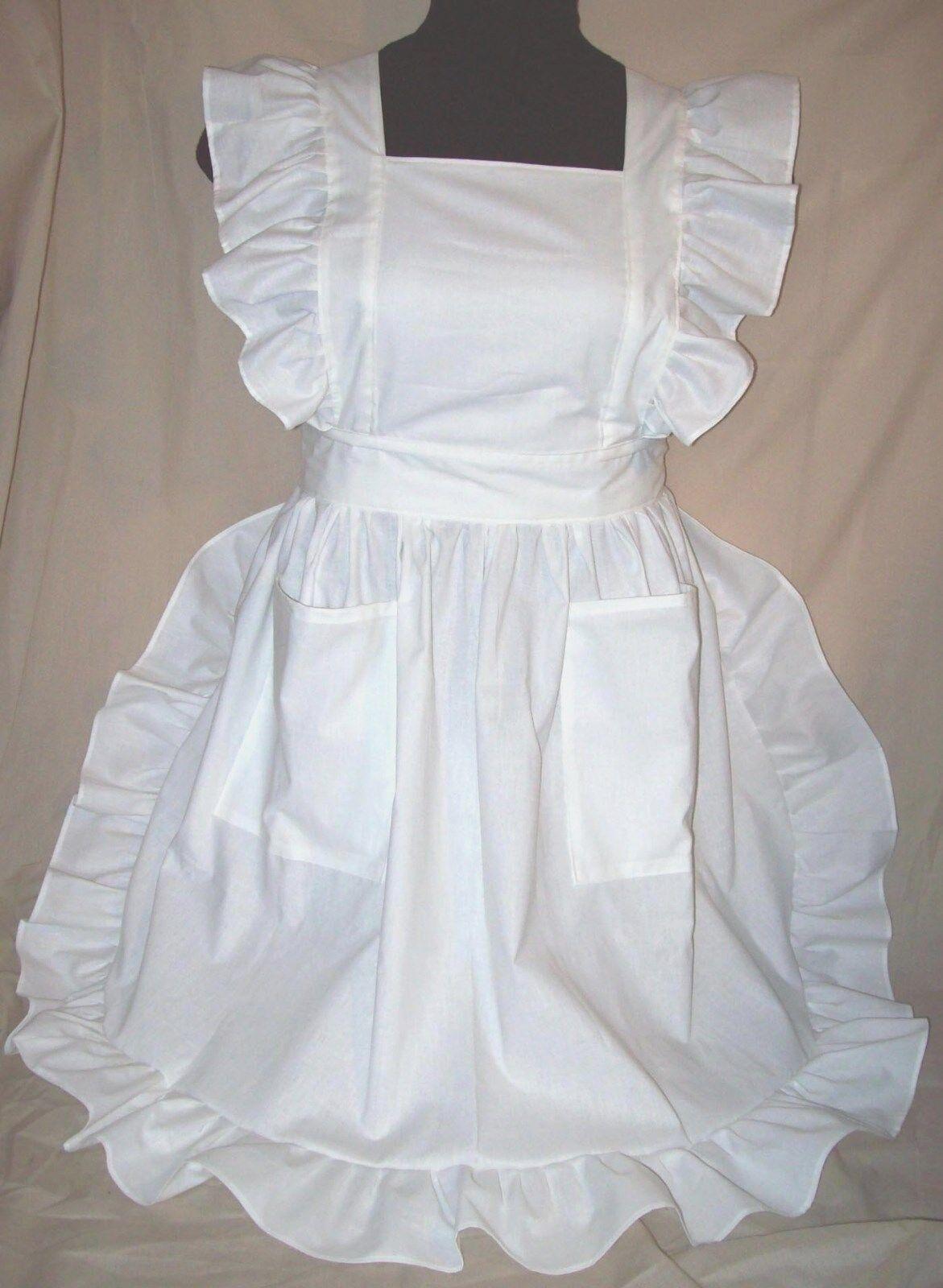 White pinafore apron ebay - Plus Size 1x Ruffled Bib Apron Pinafore New
