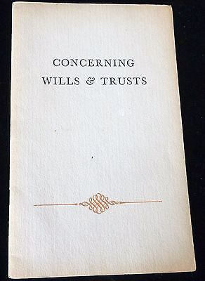 CONCERNING WILLS & TRUSTS 1940's VINTAGE PAMPHLET - ROCKLAND BANK OF BOSTON
