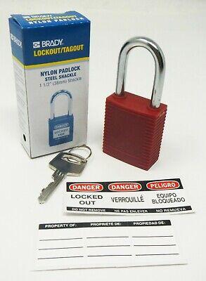 Brady Y489344 Lock Outtagout Nylon Padlock Steel Shackle 1 12 Qty 3