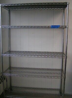 Metal Shelving With 5 Adjustable Shelves On Wheels