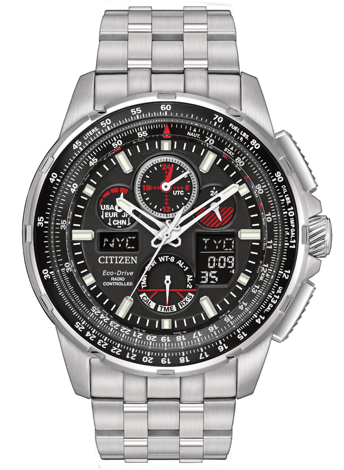 $366.20 - BRAND NEW CITIZEN ECO-DRIVE JY8050-51E SKYHAWK AT BLACK DIAL RED ACCENT