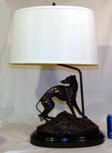 Greyhound Figurine Bronze Signed Jean Francois Theodore Gechter Table Lamp Shade