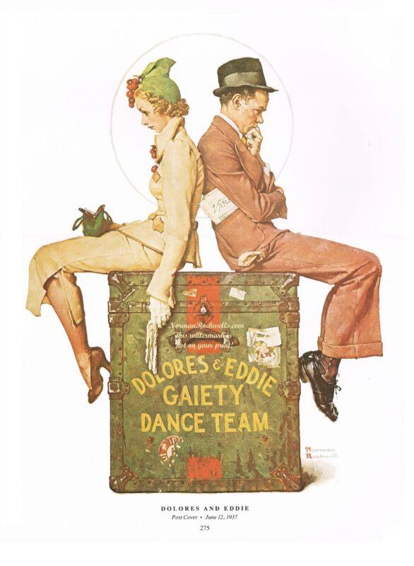 """Norman Rockwell dancing broadway vaudeville print """"LAST DANCE"""" """"DOLORES & EDDIE"""""""