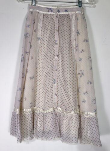 "Vintage 1970s Boho Gunne Sax Skirt Prairie Calico Voile Lace Floral Sz XS 7 25"""