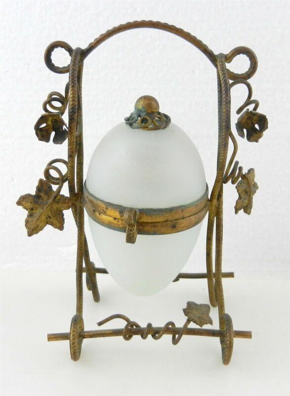 Antique Opaline Satin Glass EGG SHAPE PERFUME BOTTLE GILT METAL CADDY ~ DC
