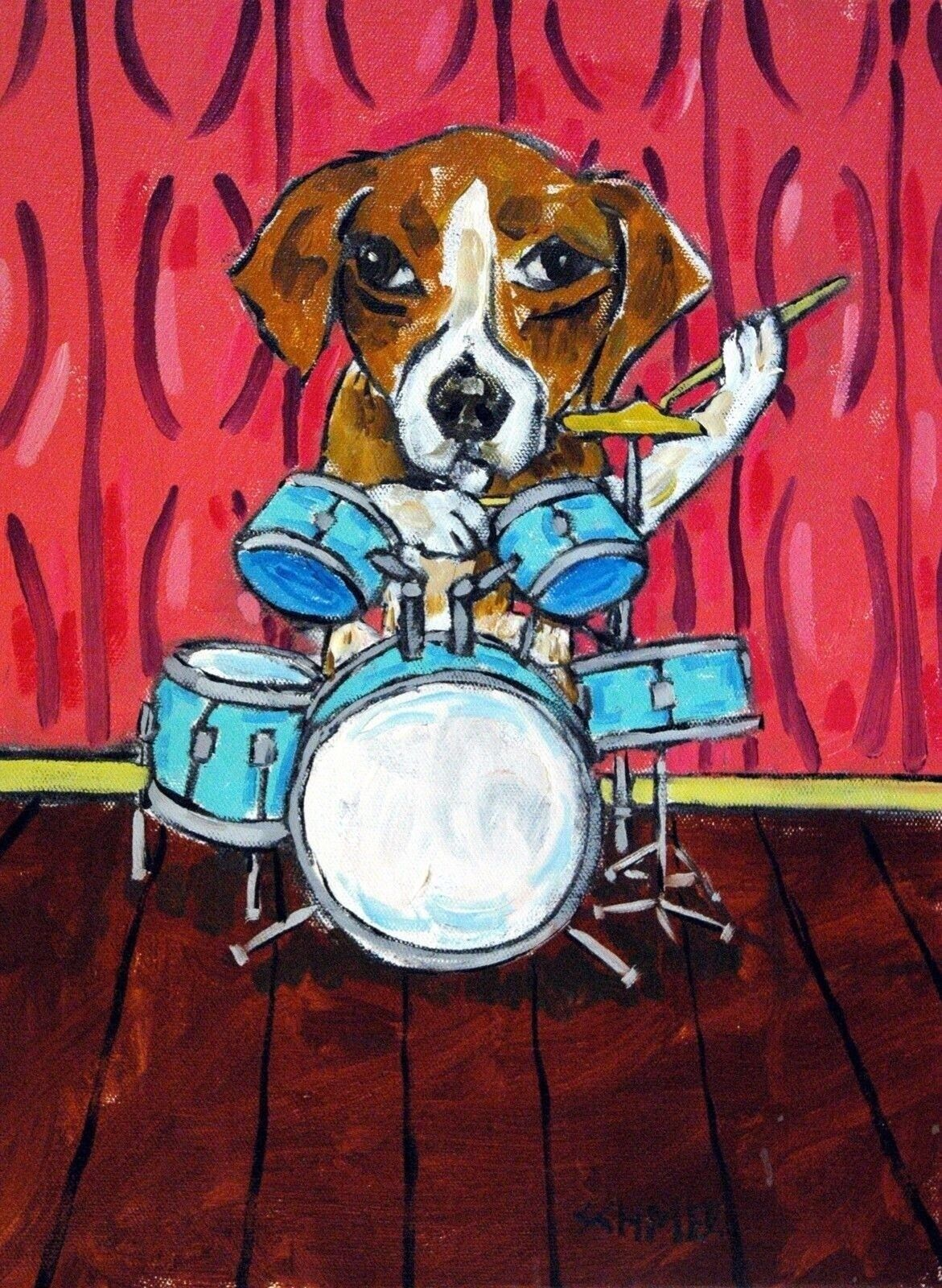beagle dog playing drums 4x6 small  glossy photo art print JSCHMETZ modern