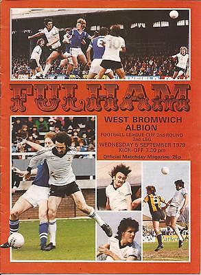Football Programme - Fulham v WBA - League Cup 1979