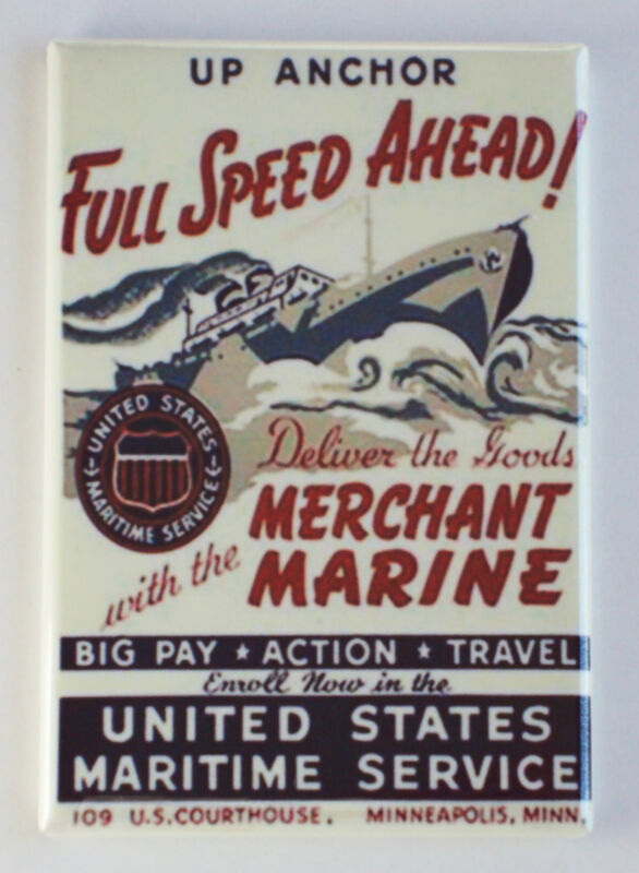 Merchant Marine FRIDGE MAGNET (2.5 x 3.5 inches) recruiting poster Full Speed