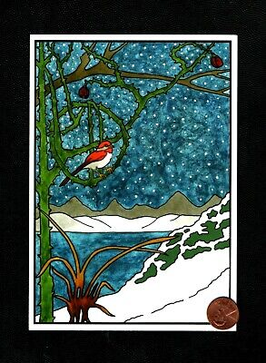 CHRISTMAS Bird Red Tree Branches Mountains Snow - Greeting Card - W/ TRACKING