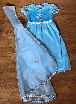 Disney Store Glitter Deluxe Dress Blue Nightie Sleep wear Girls 7 8 With Cape (Disney Dressing Gown)