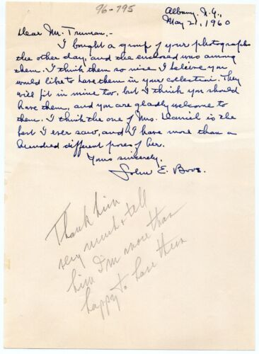 Harry S. Truman - Autograph Note Directing to Answer Offer re: Personal Photos