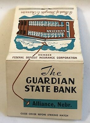 Old Matchbook Cover The Guardian State Bank Alliance Ne