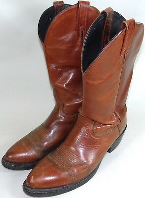 4a7ccd4d19e6a9 Tony Lama Leather Cowboy Boots Vtg Red Brown Dominion Mens 10.5 Style 4503  RARE