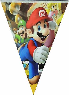 SUPER MARIO BROS FLAG BANNER BUNTING GARLANDS BIRTHDAY PARTY SUPPLIES - Mario Birthday Banner