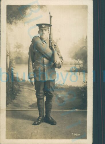 WW1 10th or 11th South Wales Borderers Soldier Studio photo with rifle