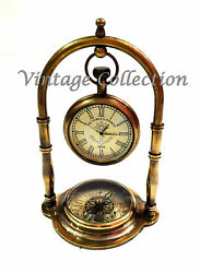 Nautical Antique Brass Table Top Hanging Clock with Compass on Base Decorative