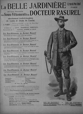 PUBLICITÉ PRESSE 1903 BELLE JARDINIÈRE SOUS-VETEMENT DOCTEUR RASUREL - CHASSEUR