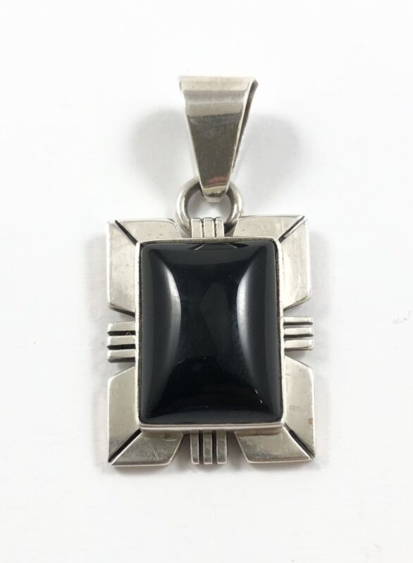 Thick Gauge Native American Sterling Silver Black Onyx Pendant