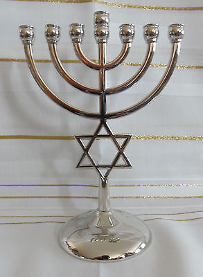 Jewish Star of David 7 Branch Silver Temple Menorah  - 7 Inches Tall