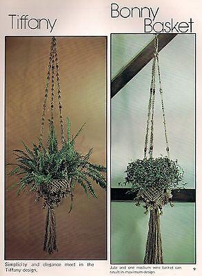 1970s Tiffany & Bonny Cesta Planta Soporte Patrón #7106 con Cable Para...