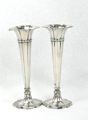 Antique German Solid Silver Fluted Vases Pair Gebruder Kuhn c.1900 Art Nouveau