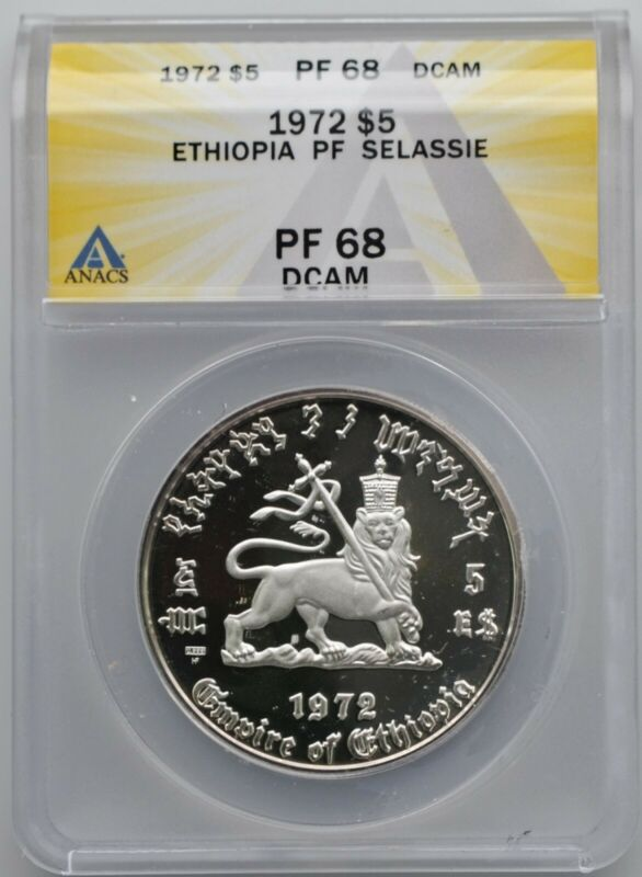 1972 Ethiopia Haile Selassie $5 Silver Proof Coin ANACS PF 68 DCAM