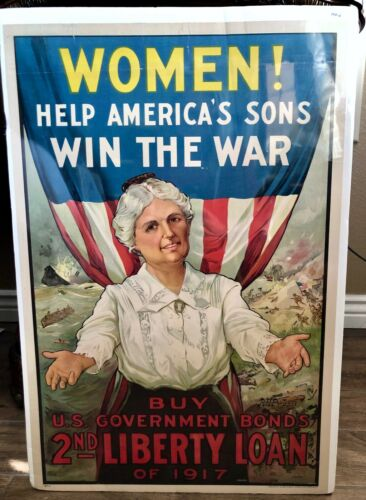 "Original WWI ""Women Help Win The War"" 2nd Liberty Loan Vintage Rare 1917 Poster"