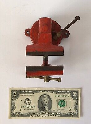 Vintage 2-12 Bench Vise Swivel Base Anvil Pipe Jaws Red Light Use Unsigned
