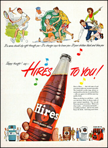 1951 Hires Root Beer sports play fountain bottled barrel retro art print ad L89