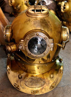 "U.S NAVY MARK V SOLID STEEL HEAVY DIVING DIVERS HELMET 18"" VINTAGE DIVER HELMET"