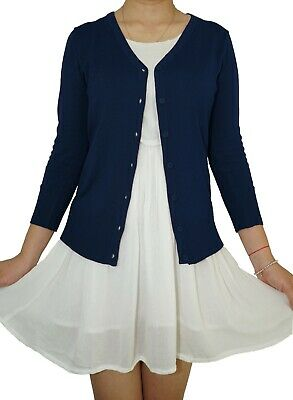 - Plus Size V-Neck 3/4 Sleeve Button Vintage Fitted Loose Knit Cardigan From USA