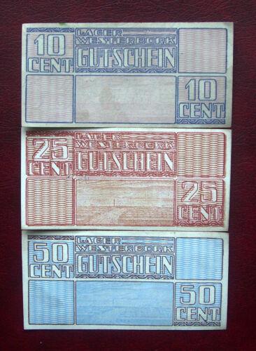 WW II Westerbork concentration camp, Netherlands set 3 banknotes
