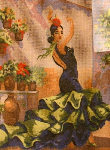 """""""Flamenco"""" Printed Needlepoint Tapestry  Canvas Collection D"""