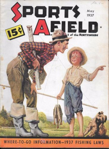 Sports Afield magazine May 1937 W H Hinton cover hunting fishing VG